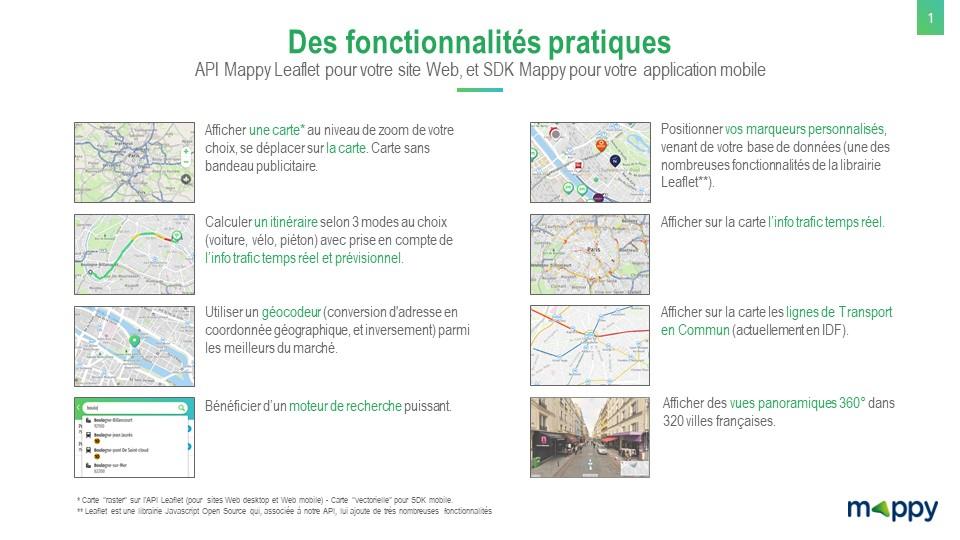 fonctionnalités API Mappy